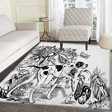 hunting non slip rugs hunting dogs in the forest monochrome drawing english pointer and setter breeds door mats for inside non slip backing 4 x5 black