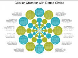 Circle Calendar Template Circular Calendar With Dotted Circles Ppt Powerpoint