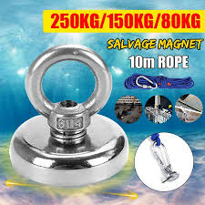 80-250KG Neodymium <b>Magnet Salvage Strong Magnet</b> With Eyebolt ...