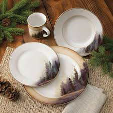 Moose Kitchen Decor Rustic Wildlife Dinnerware Sets With Moose Bear Designs