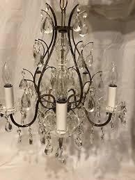 vintage antique brass crystal prism 5 arm chandelier 20 x20 1950 s