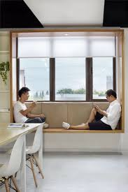 Modern Window Seat Idea - Add a suspended wood surround to standard windows  to create an
