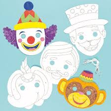 Card Masks To Decorate Circus Colour in Craft Masks for Children to Decorate Wear as a 57