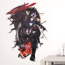 De Captain America Avengers Superhelden 3d Through Muurstickers Voor