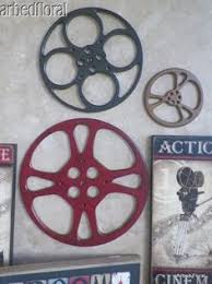 Small Picture Large Wooden Movie Reel Film Wooden Wall Decor Plaque Burgundy