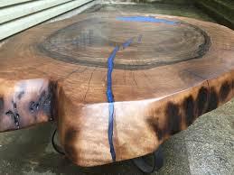 large live edge wood slab coffee table