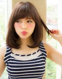 暗髪黒髪の小顔ふんわりミディyn110 ヘアカタログ髪型ヘア