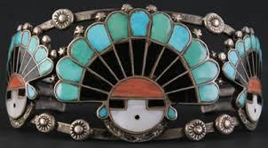 zuni 3 sunface kachinas inlay bracelet c 1940