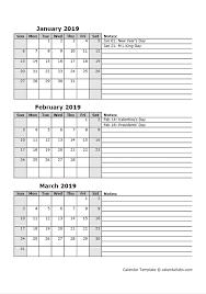 Calendar Year Quarters Free 2019 Quarterly Calendar Printable 3 Month Templates