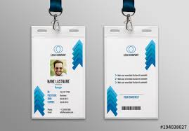 Company Id Card Template Blue Chevron Id Card Layout 1 Buy This Stock Template And