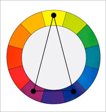 In a Split Complementary color harmony we use two colors plus the color  that is opposite to them on the color wheel.