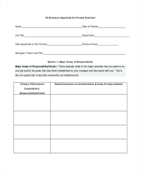 Simple Appraisal Form Amazing Performance Appraisal Form For Personal Assistant Self Evaluation