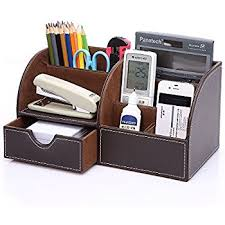 items for office desk. KINGOM 7 Storage Compartments Multifunctional PU Leather Office Desk Organizer,Desktop Stationery Box Collection Items For F