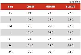 Varsity Jacket Size Chart Size Charts Eraine Creative Custom Clothing