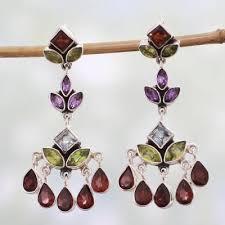 indian multi gemstone silver chandelier
