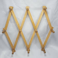 vintage wooden pegs accordion wall hooks 18in mug coat rack expandable