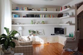 Shelves Living Room Owlatroncom A Floating White Corner Shelves