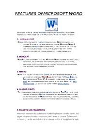 Features Of Microsoft Word Microsoft Word Software