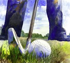 fine art print watercolor golf painting giclee of golfer by andrew king