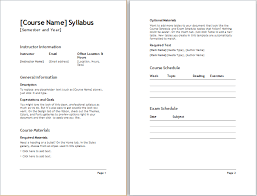 Teacher Syllabus Teacher Semester Syllabus Template Document Templates