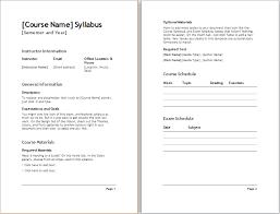 Teacher Semester Syllabus Template Document Templates