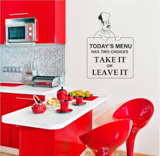 red kitchen cabinet and barstools also decorative wall kitchen sticker
