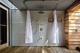 corrugated metal ceiling patio industrial with corrugated metal wall traditional tub and shower faucet sets