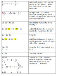 algebraic equations chart solving algebra equations with variables on both sides