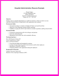 example for hospital administration resume do you need