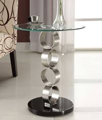 end tables designs appealing looked in transparant round shape on top and round silver metal feet and glossy black for bottom small glass end tables