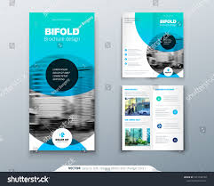 2 folded brochure template bi fold brochure design blue business stock vector royalty free