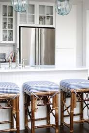 charming beach cote kitchen and barstools love the white kitchen with blue and white accents