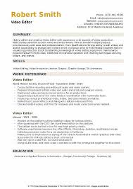 Video Resumes Samples Video Editor Resume Samples Qwikresume