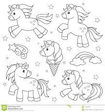 Insieme Degli Unicorni Svegli Del Fumetto Illustrazione In Bianco E