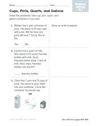 Conversion Chart For Quarts To Gallons Measuring Cup Worksheets Csdmultimediaservice Com