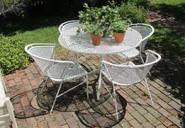 metal mesh patio furniture. Vintage Metal Patio Furniture With White Color Round Table Mesh S