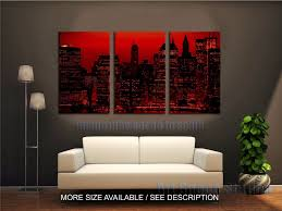 red sky at night new york city poster print 3 piece large cityscape skyline canvas wall art decoration for living room no framed in painting calligraphy  on new york city skyline canvas wall art with red sky at night new york city poster print 3 piece large cityscape
