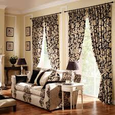 Unique Printed Curtain With Black Table Lamps For Modern Living