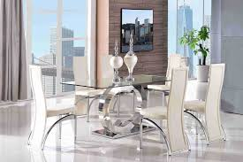 glass dining room table with leather chairs. dining table and 6 faux leather ivory chairs. 160x90cm   tempered glass steel frame fast \u0026 free! room with chairs