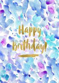 Abstract Painted Happy Birthday Card Purple Painted Birthday Card