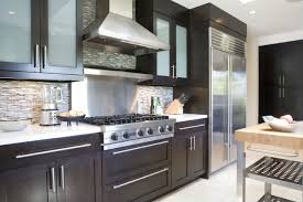 Image Stainless Steel Inspiration For Contemporary Kitchen Remodel In Los Angeles With Glassfront Cabinets Dark Houzz Native Woods Contemporary Kitchen Los Angeles By Tim Clarke