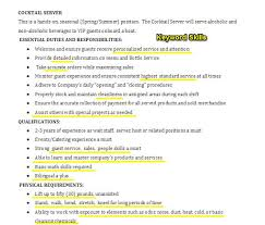 Bartender Resume Description A Good Resume Example