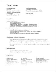Resume Setup Examples Resume Examples Student Resume Exmples