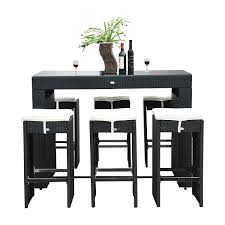 outsunny 7pc rattan wicker bar stool dining table set black com