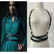 hot fashion women handmade leather harness punk gothic cage shoulder wd long waist straps suclpting belt