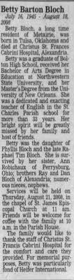 Obituary for Betty Barton Bloch, 1945-2008 - Newspapers.com