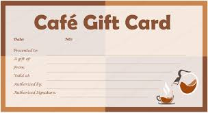 Gift Card Templates Cafe Gift Card Template For Microsoft Word