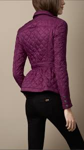 Lyst - Burberry Quilted Peplum Jacket in Purple & Gallery Adamdwight.com