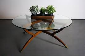 vintage mid century glass coffee table all furniture ideas modern round beau