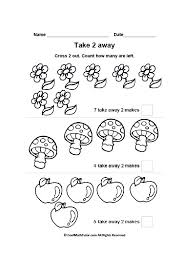 Math Subtraction Worksheets for Kindergarten: Take 2 Away